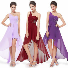 Womens One Shoulder Chiffon Bridesmaid Dress High Low Party Evening Formal Dress