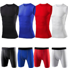 Men's Compression Baselayer Tight Fitness GYM Tee Tops Shirts Skin Shorts Bottom