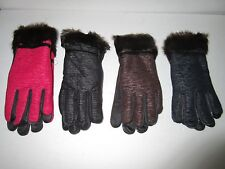 Womens Durable Long Gloves w/ Fur at Wrist: Black,Brown, Purple - Size: Med