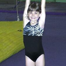 Gymnastics Girls Leotard Child 4-10 black white bamboo design New Bounce leo