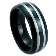 Black tungsten carbide ring features a two-tone design  8 mm & size 9,10
