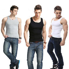 Trendy Men's Sleeveless Sports Slim Vest Solid T-Shirts Tank Cotton Muscle Tops