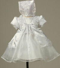 Stunning Floral Accented Organza Christening Gown Bonnet Dress Baptism Baby Girl