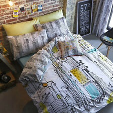 Times Square New York NYC Sketch Single Double Queen King Quilt Duvet Cover Set