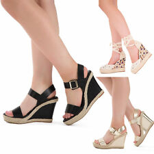 New Ladies Women Platform Mule Cork Wedge Sandal High Heel Shoe size 3 4 5 6 7 8