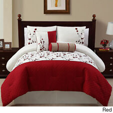 NEW Queen King Bed Red White Floral Embroidered 5 pc Comforter Set Elegant NWT