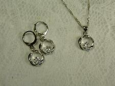 925 STERLING SILVER WHITE CLEAR CZ CUBIC ZIRCONIA CIRCLE PENDANT & EARRINGS
