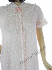 M - L Bust to 50 all LACE vtg PEIGNOIR nylon CHIFFON white PINK lingerie ROBE