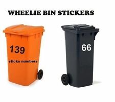 3 x Wheelie Bin Numbers Stickers, Self Adhesive Stick On. Available  colours, 4""