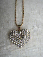 14K Yellow Gold Filled Hart-shape Necklace with Diamante - NEW.