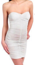 SEXY WHITE STRAPLESS RUCHED STRAPPY BACKLESS MINI DRESS  PARTY CLEAVAGE DRESS