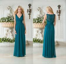 Vintage V Neck Teal Green Chiffon Plus Size Long Bridesmaid Dresses Gowns WE033