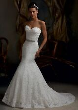 New white/ivory Lace Mermaid long wedding dress train custom made bridal dresses