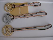 """Michael Kors Gold Silver 1 3/4"""" Purse Charm Fob Hangtag Blush Pink Leather New"""