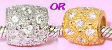 SOLID Sterling Silver Stunning Cz Charm BEAD with Vemeil gold or Rhodium Finish