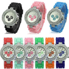 Geneva Fashion Women Crystal Jelly Silicone Analog Quartz Ladies Wrist Watches