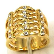 7,9# 6 LAYERS BONE STYLE REAL 18K YELLOW GOLD PLATED RING SOLID FILL GP GEP f13
