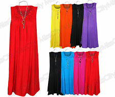 Womens Ladies Plus Size Sleeveless Frill Gypsy Tunic V-Neck Top + FREE NECKLACE,