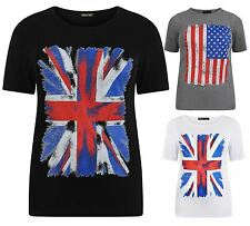 New Womens Plus Size American,Union Jack Flag Print Tee Tops 8-22