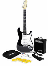 ROCKBURN ST ELECTRIC GUITAR PACKAGE BLACK AMP STRAP LEAD CASE