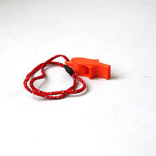 Functional ORANGE SECURITY EMERGENCY SAFETY WHISTLE WITH LANYARD CAMP HIKING FT