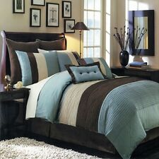12pc Blue Brown Hudson Luxury Bedding Comforter Set AND Sheet Set