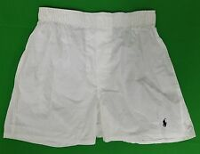 Ralph Lauren Polo Solid White Boxer Shorts With Navy Pony Logo Underwear