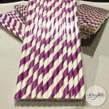 100x Striped Paper Drinking Straws Wedding Birthday Christmas Party Supplies