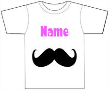 PERSONALISED MOUSTACHE T-SHIRT PRINTED WITH ANY CHILDS NAME GIRLS/BOYS