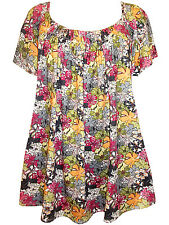 NEW Marina Kaneva Multi Floral Print Short Sleeve Tunic top - Size UK 16