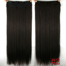 Darkest Brown 5Clips One hairpiece Clip In Real Human Hair Extension Hair Clip