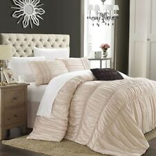 NEW Queen King Bed Taupe Beige Brown Ruched Stripe 5pc Comforter Set Elegant NWT