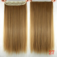 100g 16''~26'' 5Clips One Piece Clip In Real Human Hair Extensions Honey Blonde