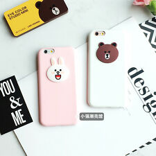 Lovely Sweet Line Friend Bear Brown Bunny Rabbit Soft Case For iPhone 6 6s Plus