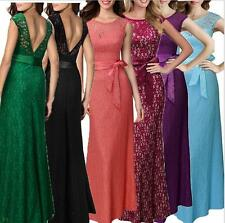 Women's Full Length Floral Backless Lace Cocktail Party Long Dress Size 6 To 14
