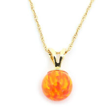 14k Yellow/White Gold 10mm Orange Fire Simulated Opal Pendant Necklace