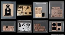 ASSORTMENT STAMPIN UP!  WOOD MOUNTED  RETIRED RUBBER STAMPS SETS