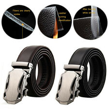 Mens White Belts Genuine Leather Belt Fashion Automatic Belt Buckle Waist Strap