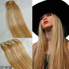 CLIP iN 100% HUMAN HAIR KINDS SIZE DELUXE STRAIGHT HAIR EXTENSIONS MIX # 27/613