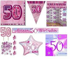 50th Birthday/Age 50 - PINK/GIRL PARTY ITEMS Decorations Tableware - Large Range