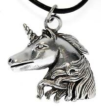 UNICORN Silver Pewter Pendant Leather Necklace Surfer