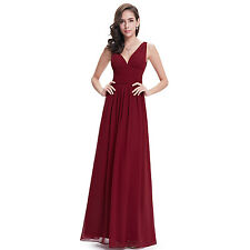 Women's Chiffon V Neck Long Party Dresses Bridesmaid Gowns Formal Evening Prom