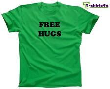 FREE HUGS Funny College Party Pick Up Line Peace Love Nice T-Shirt NEW - Green