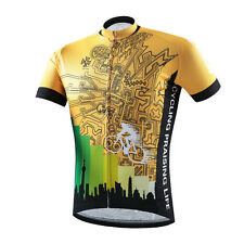 Men's Cycling Jersey Gold Short Sleeve Sportswear Cycling Biking Shirt Top S-5XL