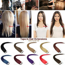 """16""""18"""" 20"""" 22"""" 24"""" PU Tape In Remy AAA Straight 100% Human Hair Extensions 20pcs"""