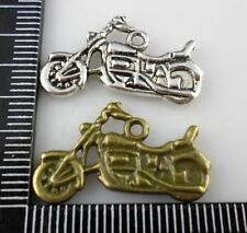 24/200pcs Tibetan silver/Bronze Motorcycle Charms Pendants 14x24mm (Lead-free)