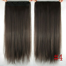 5Clips One Hairpiece Clip In 100%Real Human Hair Extension Chocolate Brown 150g