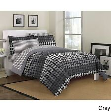 NEW Twin Full Queen Bed Bag 7 pc Gray White Houndstooth Comforter Sheets Set NWT