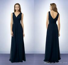 Navy Blue Long Bridesmaid Party Dresses V-Neck Chiffon Formal Evening Gown WE117
