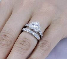 925 STERLING SILVER HEART CZ STONE WEDDING ENGAGEMENT WOMEN RINGS SET 4-11 SS765
